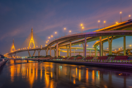 Rama nine bridge (rama 9 bridge), pavilion and park, Bangkok, Thailand Stock Photo