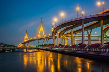 Rama nine bridge (rama 9 bridge), pavilion and park, Bangkok, Thailand Stock Photo