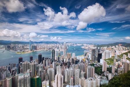 빅토리아 피크, 홍콩, 중국에서 홍콩 도시, 바다, 구 룡 도시 및 홍콩 항구의 상위 뷰
