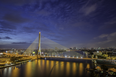 Rama eight bridge in Bangkok city, Thailand, bangkok land mark, transportation and trafic concept
