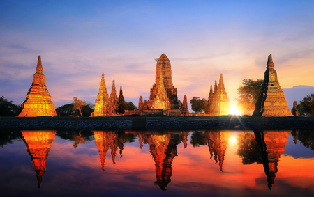 Reflection of pagoda and old temple in Ayutthaya ancient city park, Ayutthaya, Thailand, Asia Stock Photo