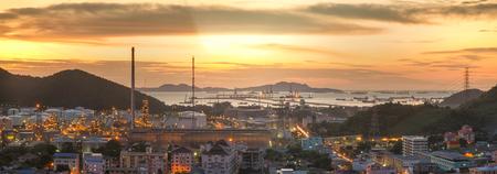 Laem Chabang Industriegebiet, Hafen-, Gas-, Öl-, Logistik- und Ölraffineriefabrik Standard-Bild