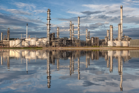 Reflection of oil refinery factory, chamical plant and enrgy concept