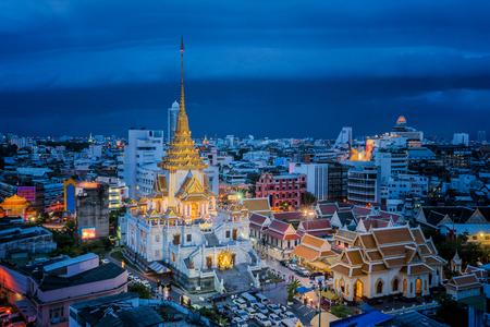 Day to night short of Wat Trimit Temple in china town, Bangkok city, Bangkok, Thailand