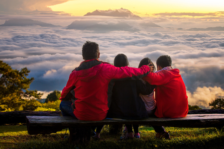 Family travel togather in Huai nam dang national park, Chiang mai, Thailand Stock Photo