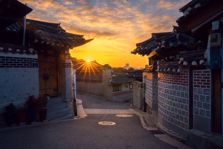 The old town, Korean home in Seoul city with morning sunrise in Korea