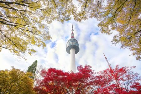 N seoul tower with autumn and blue sky, Seoul city, South Korea