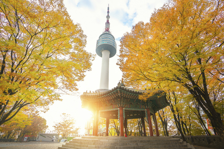 N seoul tower and chinese pavilion in autumn with morning sunrise, Seoul city, South Korea Foto de archivo