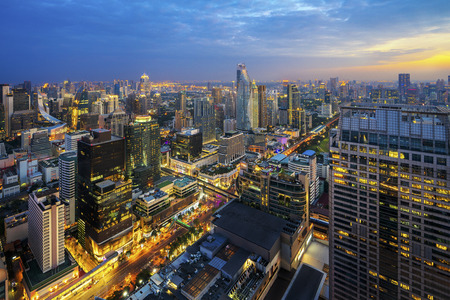 Building in Ratchaprasong and Sukhumvit area is center of business, shopping, travel, and hotel in Bangkok city, Bangkok, Thailand