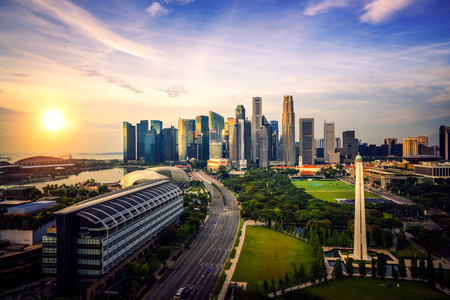 cityscape of Singapore city and business center on morning sunrise