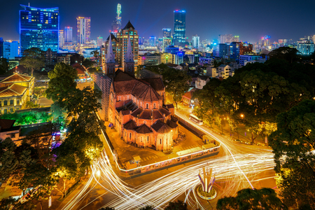 Nha Tho Duc Ba Ho Chi Minh city with Notre Dame Basilica in magic light and blue sky, Vietnam