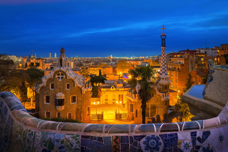 Sunset and blue sky in Park guell colors in Barcelona, Spain.