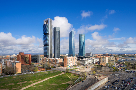 Madrid, Spain financial district skyline and blue sky in day time.
