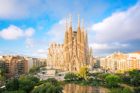 Landscape of Barcelona city from the roof top of hotal with travel point in church and park, Baecelona, Spain, Europe
