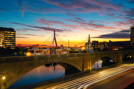 Train in Boston with Bridge and sunrise background in morning time, Boston city, USA, United state of America