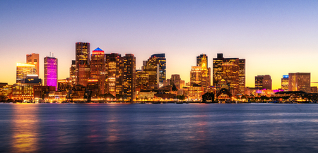 Night Cityscape photo for Boston city skyline with sunset in Boston harbor, Massachusetts, USA, United States of America Imagens