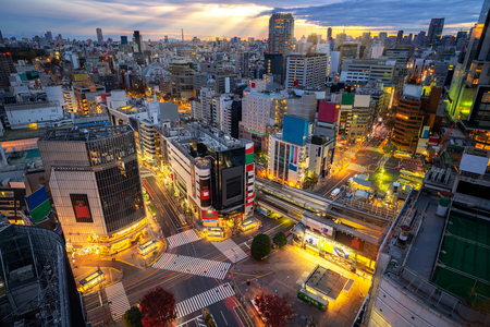 Road, Building and Shibuya Crossing from top view at twilight in Shibuya city with morning sunrise sky background, Tokyo, Japan Stock Photo