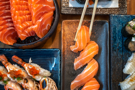 Shushi and seafood in Japanese restaurant
