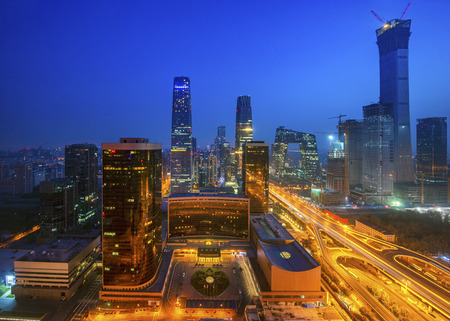 Building in Beijing city in night time, Beijing, China, this photo can use for cityscape, chinese, urban, asia, city, and travel concept