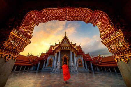 Marble Temple of Bangkok, Thailand Banco de Imagens