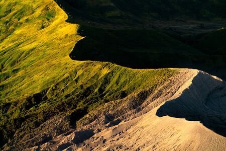 Close up bromo mountain, detail and background of nature in Indonesia, Java island.
