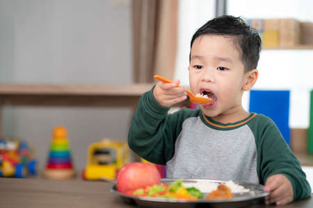 Asian student take a lunch in class room by food tray prepared by his preschool, this image can use for food, school, kid and education concept Zdjęcie Seryjne