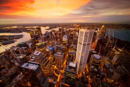 Cityscape of Sydney city from the roof top of Tower with sunset and skyline, Australia Editorial