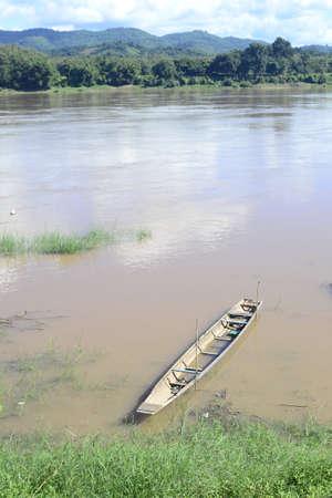 mekong river: Boat at the bank of Mekong river.