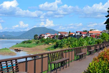 loei: scence from Chiang Khan sidewalk,Chiang Khan District,Loei Province,Thailand