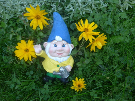 Garden dwarf with watering can in a flower bed