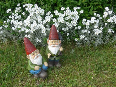 Two garden dwarfs in front of a flower bed
