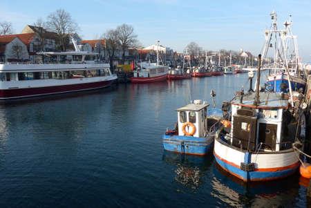 Fishing boats in the port of Warnemünde  Rostock Stock Photo