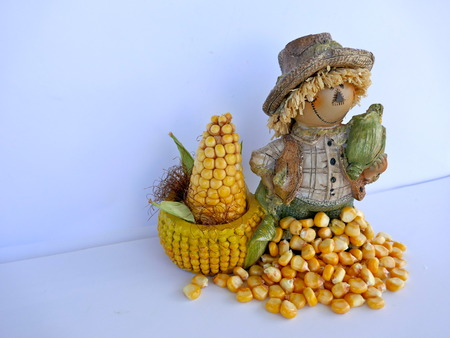 Funny decorating figure with corn, isolated on white background