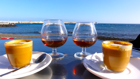 Coffee and brandy, enjoyment after lunch or dinner