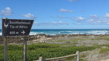 South Africa. Old weathered sign for the national park, the southernmost point of Africa, Cape Agulhas