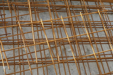 Reinforced steel mesh, iron grid on a construction site Фото со стока - 106906522