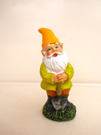 Garden gnome in front of a neutral background