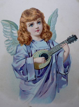 Little musician angel with lute (illustration ca.1890)