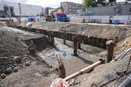 Drainage and preparation of a major construction site in the city center of Kiel, Schleswig-Holstein, Germany