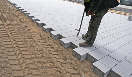New paving stones on the sidewalk, close-up Imagens - 111417595