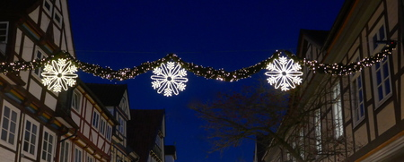 Christmas market Christmas lights in the historic city of Celle, Germany, Europe