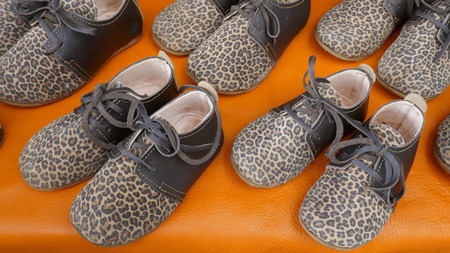 Flat girl shoes with leopard pattern. Stylish lace-up leopard print shoes for trendy, little girls. Imagens