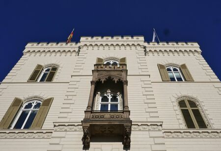 Historic old building, white facade - noble house in Hamburg, Germany, near the Aussenalster Zdjęcie Seryjne