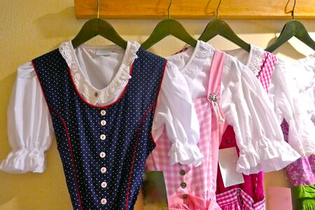 Parts of a typical Bavarian, traditional clothing, suitable for the Oktoberfest in Munich, Germany, Europe. Details of typical Bavarian clothing. Traditional clothing for girls