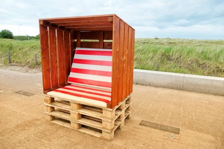 Beach chair from wooden boards and Euro pallets, Schleswig-Holstein, Germany