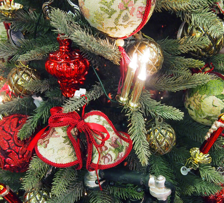 westerner: Decorated Christmas tree closeup