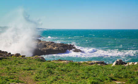 Storm on the coast of Polignano a Mare. The beautiful azure sea. The great wave beating against the shore rocks. Sunlight, clear day. Blue sky without clouds. Green grass on the shore. The seascape. Stock Photo