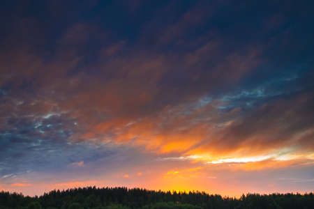 Panorama of the sky with beautiful colored whimsical clouds. Evening sky. White night. Sunlight on the clouds. Summer season. Rural place.