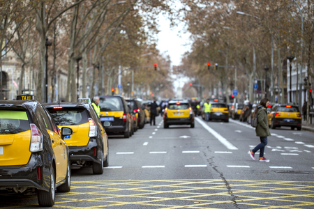 Taxi drivers strike in Barcelona.