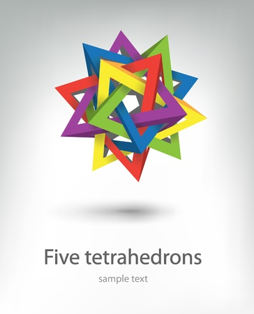 tetraedro: cinque tetrahedrons Vettoriali